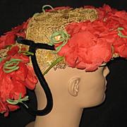 SALE Unusual 30's-40's Delle Donne Raffia Straw Hat w/Organdy Poppies & Back Velvet Ring w