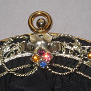Stunning Vintage Guild Creations Navy Rayon Crepe Purse with Ornate Rhinestone Ornamentation .