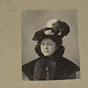 Small Antique Victorian Cabinet Card of Beautifully Dressed Woman in Feathered Hat & High Coll