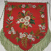 SALE Superb Victorian Beaded Floral Needlepoint Fireplace Screen Panel with Fringe-Christmas C