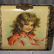 SALE Gorgeous Victorian Celluloid & Velvet Photo Album with Signed Brundage Girl Cover