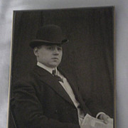Antique Victorian Cabinet Card of Well Dressed Man with Hat holding a Decorative Document-Brem
