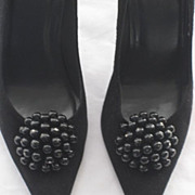 "Stuart Weitzman Suede & Patent Stiletto Shoes with 4"" Heels & Beaded Shoe Clips-Size 7 ½ .."