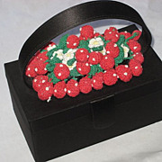 Black Satin Box Purse with Hand Crochet Strawberries, Leaves & Flowers