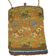 SOLD Pristine 1920's Micro Beaded Stylized Floral Purse with Beaded Fringe & Enamel Frame-All