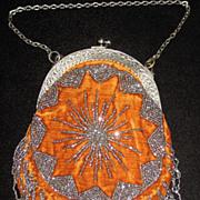 SALE Vintage Antique Made in France Velvet & Steel Beaded Purse & Twisted Fringe with Ornate .