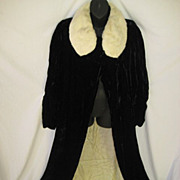 SALE 1930's Black Silk Velvet Opera Length Coat with Ermine Collar by Myer Siegel