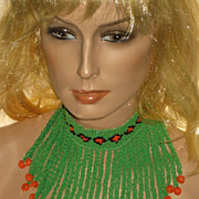 SOLD Vintage  Green, Black & Orange Hand Beaded Choker Necklace by African Tribe Member
