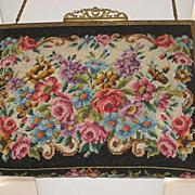 Vintage Black Floral Petit Point Purse