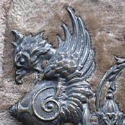 SOLD 1882 Velvet Photo Album w/Photos & Ornate Metal Scrollwork & Bird Gargoyle