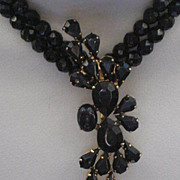 Stunning Signed Bergere French Jet Parure Necklace, Brooch, Earrings