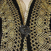 SALE Vintage Bryan Emerson Velvet & Gold Metallic Vest w/ Netted Back-Never Used