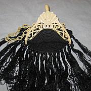 SALE Art Deco 1920's Cream Celluloid Purse with Long Black Crochet Fringe