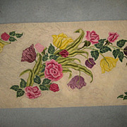 "SALE Stunning 1930's Hand Hooked Floral Rug - 78""L X 32"" W"