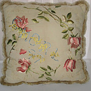 Antique Dated 1897 Society Silk Embroidered Pillow with Multi-Pink Roses