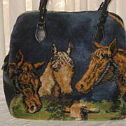 Large Vintage Marlow Carpet Bag Tote Purse with Horses & Kittens-Dbl Sided