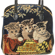Large Vintage Marlow Carpetbag Purse w/3 Kittens & Terrier Puppies-Dbl Sided
