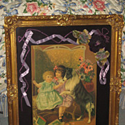 SALE 1930's Framed Lithograph w/Collie & Children with Custom Matting, Antique Flowers