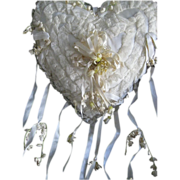 SOLD 1930's Satin, Lace Heart Shape Wedding Ring Pillow-Wax & Lily of the Valley Flowers, Long