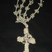 SALE Vintage Wax Wedding Crucifix/Cross Necklace w/Long Wax Double Strands