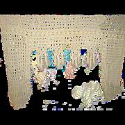 Antique French Hand Crochet Valance Pelmet w/Crochet Bobbles/Ball Dangles & Fringe