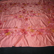 SALE Vintage Pink Satin Tablecloth with Multi-Colored Embroidered Flowers