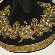 SALE 1920's-30's Black Velvet Drawstring Purse w/Gold Metallic, Faux Pearl & Rhinestone Detail