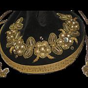 SALE 1920's-30's Black Velvet Drawstring Purse w/Gold Metallic, Faux Pearl & Rhinestone ...