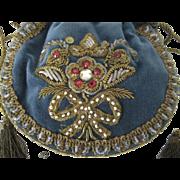 SALE 1920's-30's French Blue Velvet Drawstring Purse w/Gold Metallic, Beads & Sequin ...