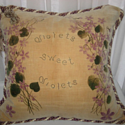 SOLD Victorian Hand Painted Pansies Velveteen Pillow w/Tassels & Twisted Rope Trim