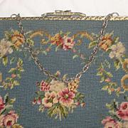 Vintage French Blue Petit Point & Needlepoint Roses Purse-2 Sided