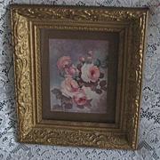 """SOLD ON HOLD FOR """"K""""-Antique Gold Ornate Gesso Frame w/Vintage Lola Ades Large Pink"""