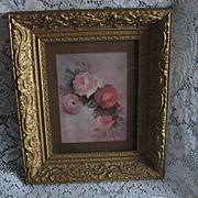 """SOLD ON HOLD FOR """"K""""-Antique Gold Ornate Gesso Frame w/Vintage 1970 Lola Ades Pink &"""