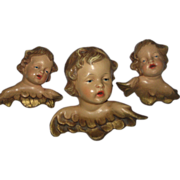 1940's Set of Three Hand Painted Cherubs Made in Western Germany