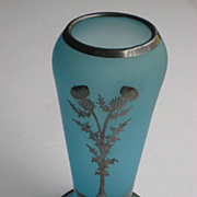 SOLD C. 20's Rockwell Blue Satin Glass Silver Overlay Vase w/Thistle Flowers, Numbered