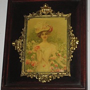 SOLD Antique Shadow Box Frame w/Celluloid Young Lady Picture & Ornate Gold Metal Trim