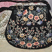 SOLD Vintage Marheta Made in Rio De Janeiro Purse-Navy with Ornate Embroidery-NEVER USED-