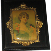 SALE 1900's Shadow Box Frame w/Celluloid Lady Picture & Ornate Gold Metal Trim