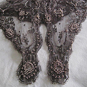 1980's Bryan Emerson Hand Beaded Grey Floral Net Lace Scarf