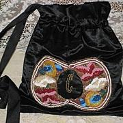 Antique Black Silk Satin Wrist Purse w/Ornate Beadwork