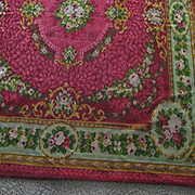 2DIE4-Antique Mohair Table Cover/Rug/Throw in Raspberry w/Roses
