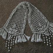 Antique French Hand Crochet Runner w/Bobbles on Each End