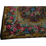 Victorian Mohair Table Cover or Rug with Tons of Roses & Flowers