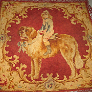 Victorian Chenille Wall Hanging w/St. Bernard & Young Boy