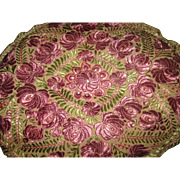 SOLD '20's Hungarian Matyo Hand Stitched Oval Tablecloth, Pillow Top w/Lavender Rose Flowers,