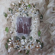 Victorian Wedding Shadow Box w/Wax Tiara, Corsages, Veil & Photo of Couple