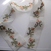SOLD 15 French 1920's Ribbon Work Appliqués in Pink, Sage Green w/Gold Metallic Detail-1 Cont