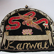 C. 40's Tea Cozy w/Ornate Metallic Detail w/Birds on Black Velveteen