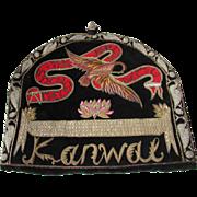 C. 40's Tea Cozy w/Ornate Metallic Detail w/Birds on Black Velveteen