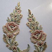 PR Antique Hand Stitched French Silky Floral Appliqués w/Metallic Detail-Never Used